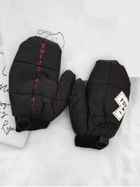 Gants d'Hiver Lettre Patchwork - Noir  Mobile