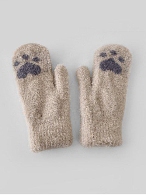 Узор кошки Перчатки Шерсть - Бежевый  Mobile