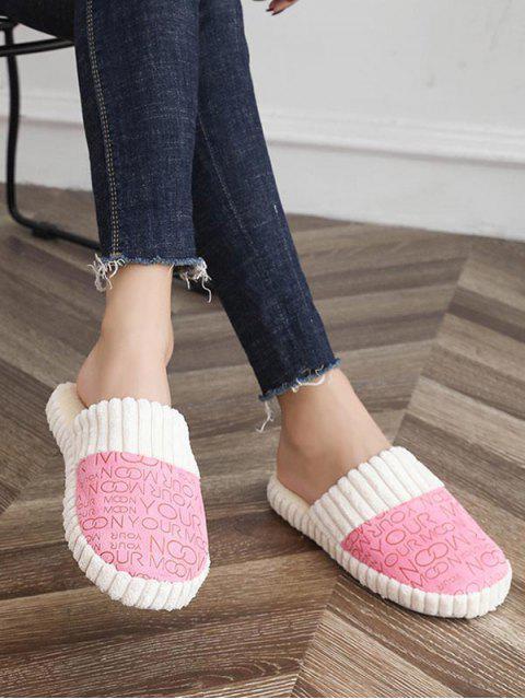 Chaussures Plates Lettre Imprimée Fourrées - Rose  EU 36 Mobile