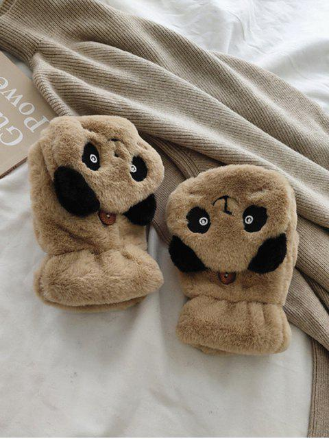 Gants Panda en Fausse Fourrure Sans Doigt - Kaki  Mobile