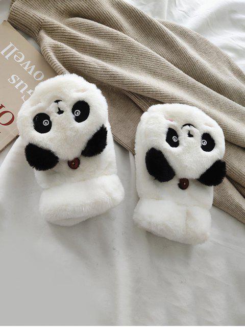 Gants Panda en Fausse Fourrure Sans Doigt - Blanc  Mobile