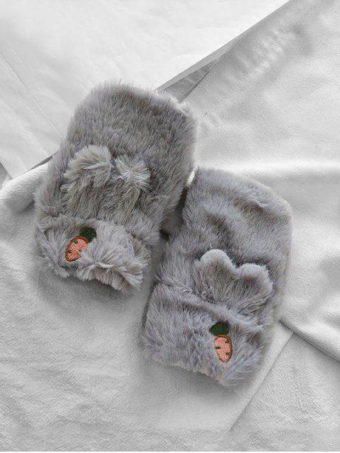 Gants d'Oreilles de Lapin en Fausse Fourrure Sans Doigts - Gris  Mobile