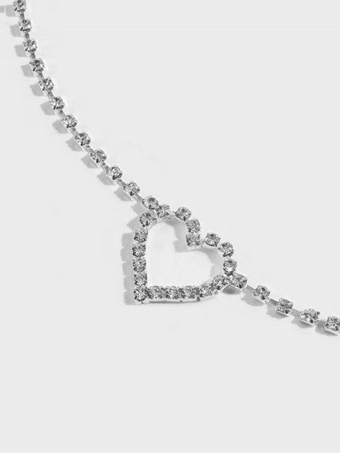 Сердце Горный хрусталь Ажурная Цепь для талии - Серебристый  Mobile