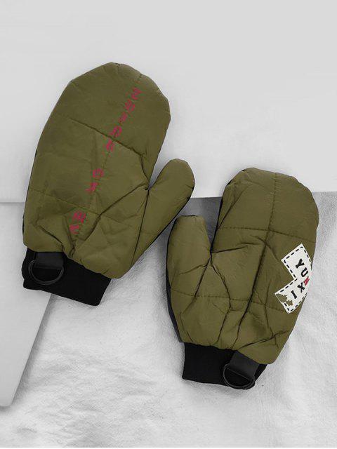 Gants d'Hiver Lettre Patchwork - Vert Armée   Mobile