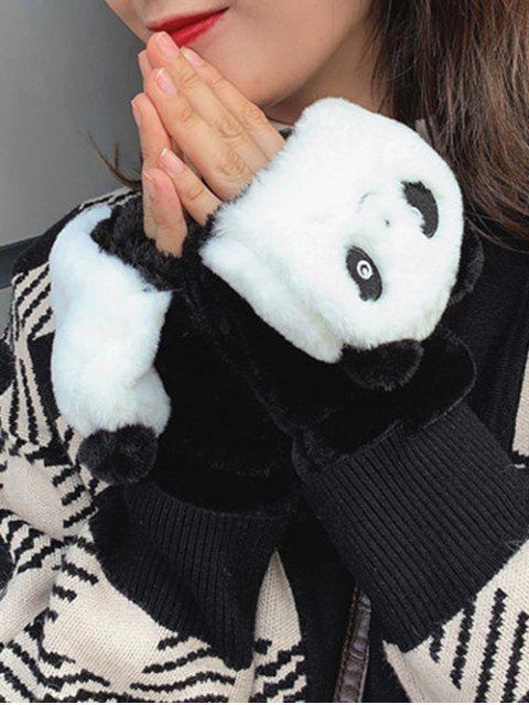 Gants Panda en Fausse Fourrure Sans Doigt - Noir  Mobile