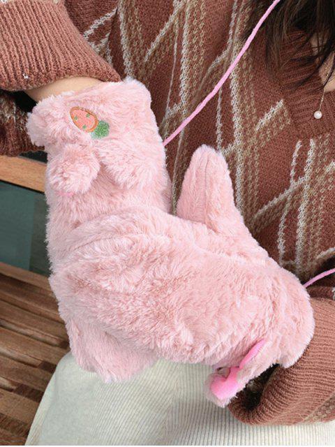 Gants Oreilles de Lapin en Fausse Fourrure - Rose   Mobile