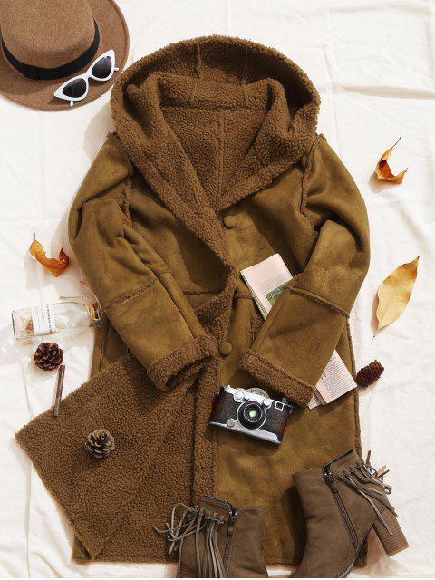 واصطف فو زبدة نباتية مقنع منفوش جيب معطف طويل - بنى XL Mobile