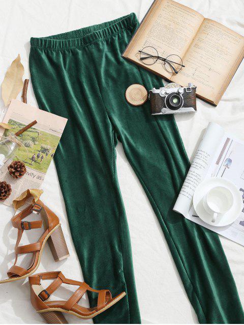 sale ZAFUL Ribbed Velvet Pants - SEA GREEN M Mobile