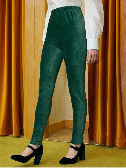 lady ZAFUL Ribbed Velvet Pants - SEA GREEN S Mobile