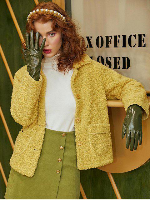 固體修補的口袋按鈕向上泰迪夾克 - 黃色 XL Mobile