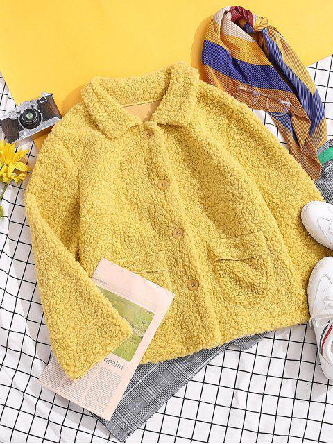 固體修補的口袋按鈕向上泰迪夾克 - 黃色 L Mobile