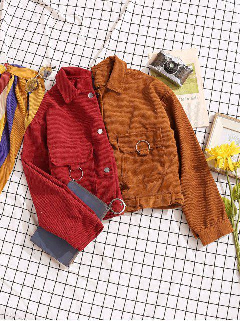 shops Button Up Pockets Belted Corduroy Jacket - RED S Mobile