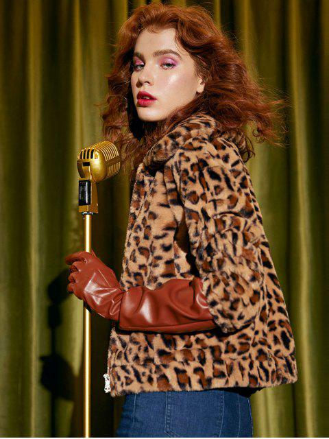 outfits Faux Fur Leopard Jacket - LEOPARD S Mobile