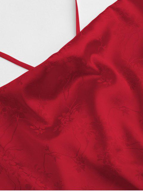 ZAFUL Camisole Courte Fleur en Jacquard - Rouge Saint-Valentin L Mobile