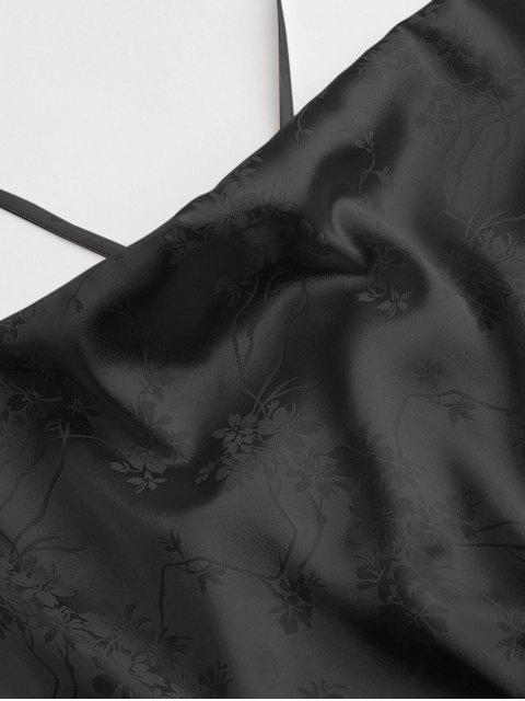 ZAFUL Camisole Courte Fleur en Jacquard - Noir L Mobile