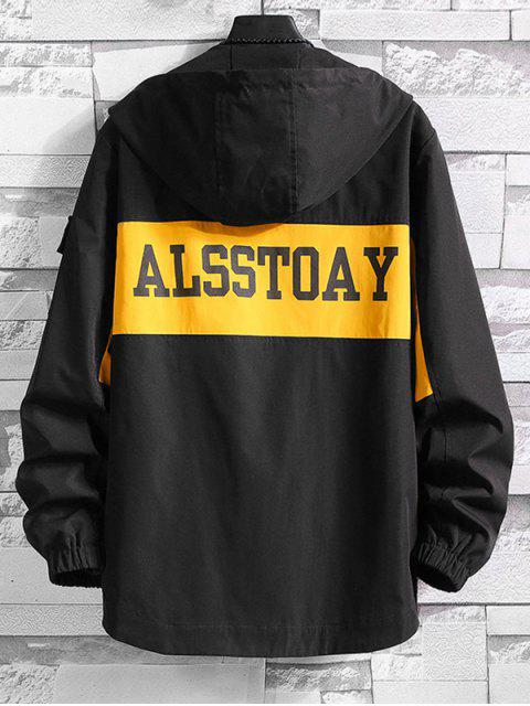 women Colorblock Letter Print High Low Hooded Jacket - BLACK 3XL Mobile