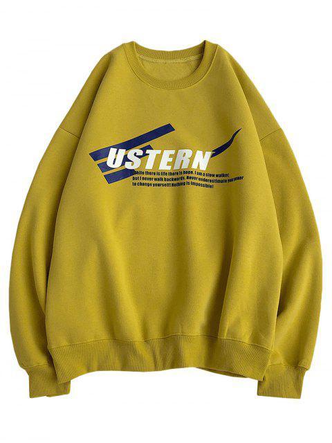 信條紋羊毛打印落肩運動衫 - 黃色 M Mobile