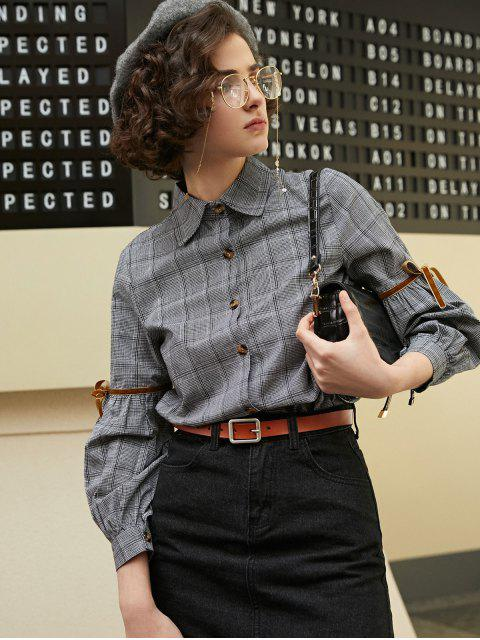 best Houndstooth Plaid High Low Contrast Tape Shirt - DARK GRAY M Mobile