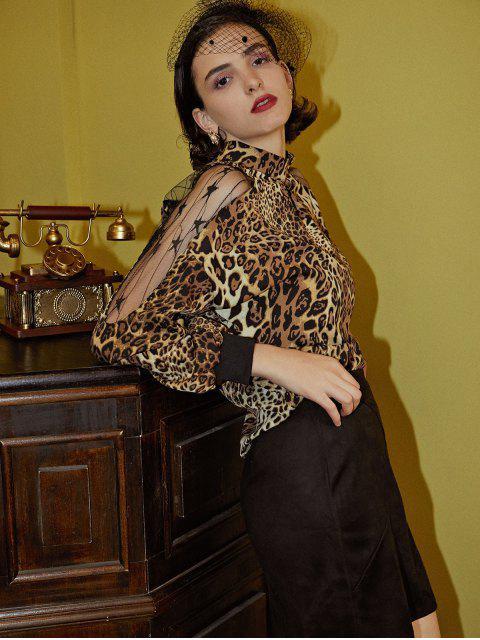 hot Leopard Animal Print Mesh Panel Sheer Blouse - MULTI-A L Mobile