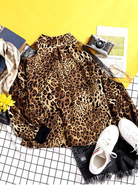 outfits Leopard Animal Print Mesh Panel Sheer Blouse - MULTI-A 2XL Mobile