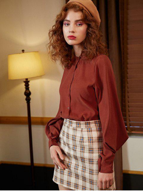 fashion Voluminous Sleeve Shirt - CHESTNUT RED M Mobile