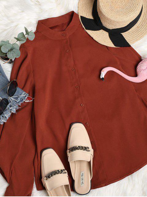 chic Voluminous Sleeve Shirt - CHESTNUT RED L Mobile