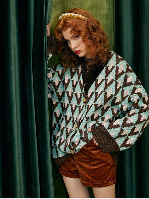 affordable Argyle Oversized Cardigan - MULTI-A ONE SIZE Mobile