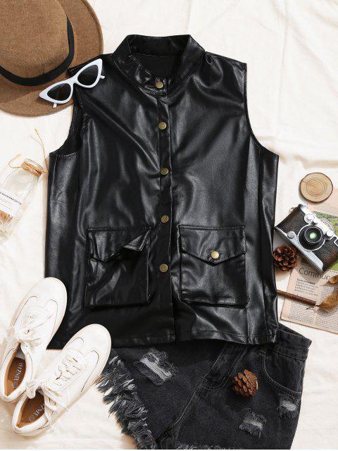 hot PU Pocket Snap Button Waistcoat - BLACK XL Mobile