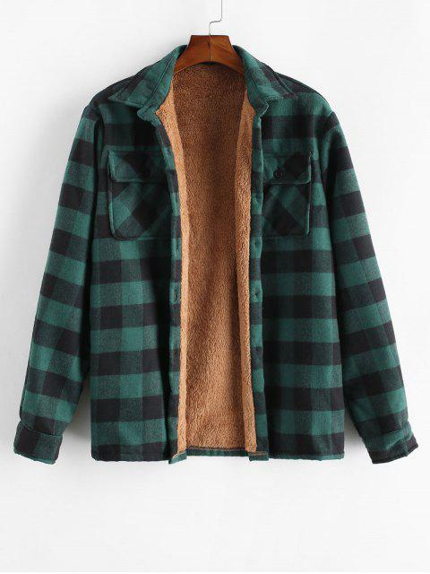 affordable ZAFUL Chest Pocket Plush Button Plaid Jacket - DEEP GREEN L Mobile