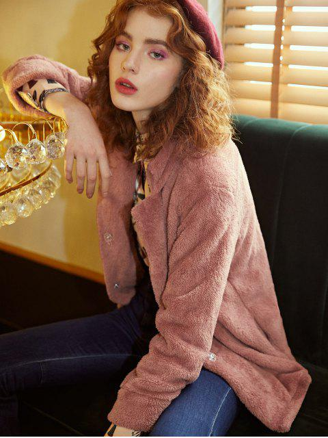 lady Plush Turndown Collar Fluffy Pocket Coat - PINK M Mobile