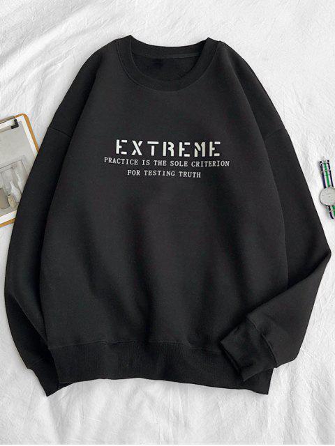至尊信打印羊毛圓領運動衫 - 黑色 S Mobile