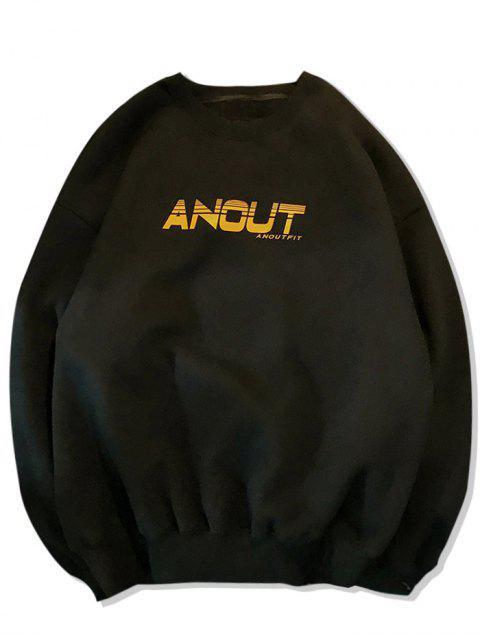 信圖形打印羊毛落肩運動衫 - 黑色 L Mobile