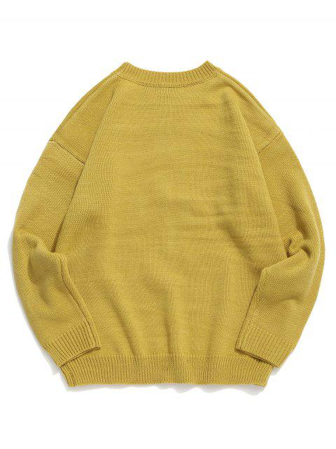 best Hand Rose Oriental Embroidery Crew Neck Sweater - YELLOW 3XL Mobile