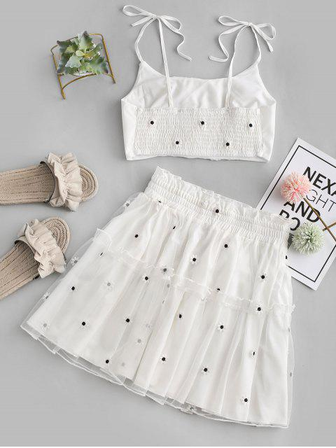 chic Floral Embroidered Smocked Mesh Two Piece Suit - WHITE L Mobile