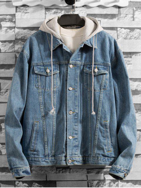 ladies Solid Color Button Denim Jacket - LIGHT SKY BLUE M Mobile