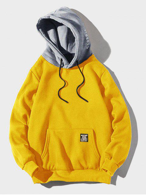lady Color-blocking Letter Patch Detail Pouch Pocket Fleece Hoodie - YELLOW L Mobile