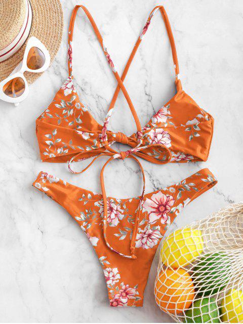 ZAFUL Maillot de Bain Bikini Noué Croisé Fleur - Multi-B M Mobile