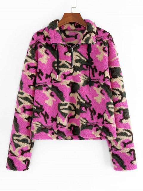 online ZAFUL Animal Camo Drop Shoulder Quarter Zip Teddy Sweatshirt - MULTI-C S Mobile