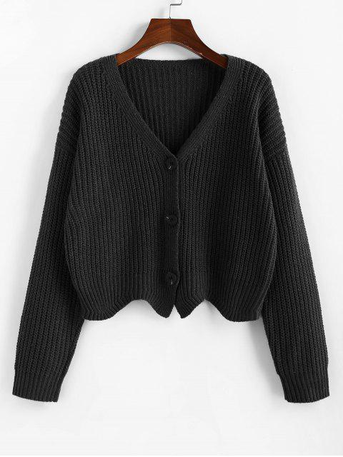 unique ZAFUL Button Up Drop Shoulder Wave Hem Cardigan - BLACK L Mobile