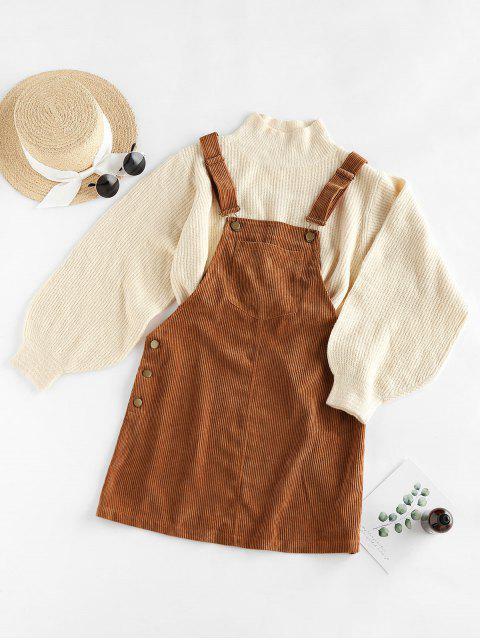 online ZAFUL Corduroy Pocket Pinafore Dress - TIGER ORANGE L Mobile