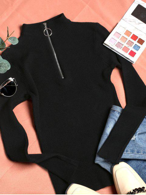 best Mock Neck Ribbed Half Zip Sweater - BLACK ONE SIZE Mobile