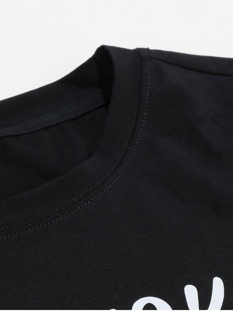 ZAFUL Camiseta Casual con Patrón de Letras - Negro S Mobile