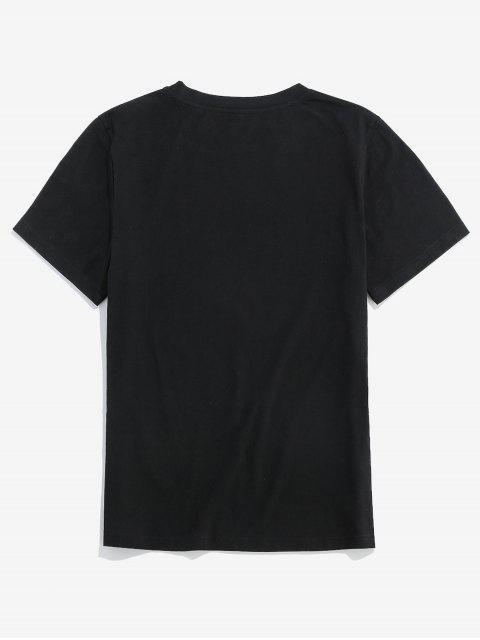 ZAFUL字母圖形圖案休閒T卹 - 黑色 XL Mobile