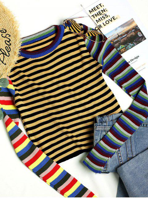 buy Crew Neck Cropped Rainbow Stripes Sweater - MULTI-A ONE SIZE Mobile