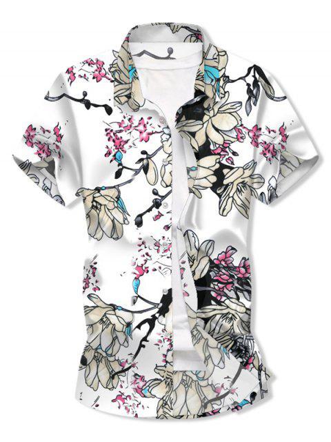 Camisa de Manga Corta con Estampado de Flores y Botones - Blanco 3XL Mobile