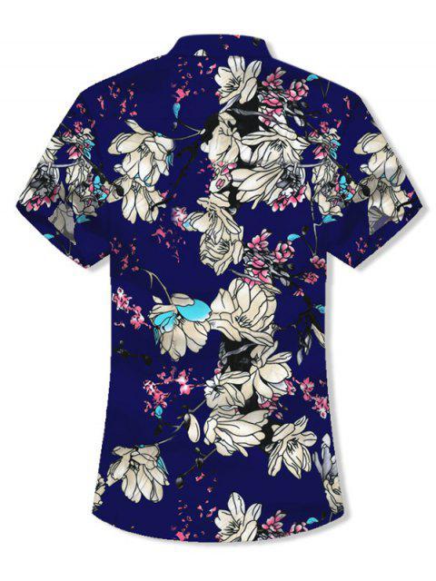 Camisa de Manga Corta con Estampado de Flores y Botones - Azul Profundo 3XL Mobile