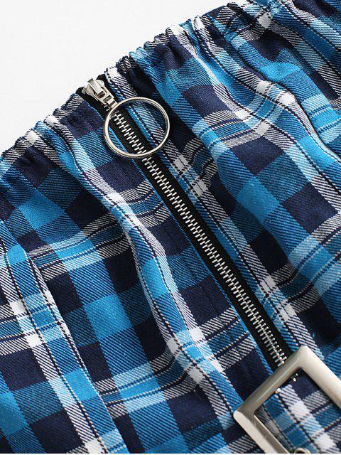 Kariertes Bandeau Oberteil mit Gürtel und Reißverschluss - Blau M Mobile