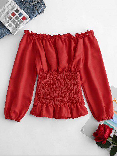 women Off Shoulder Lace Up Smocked Blouse - RED M Mobile