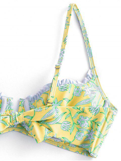 ZAFUL Bikini Floral de Corte Alto con Aros - Amarillo M Mobile