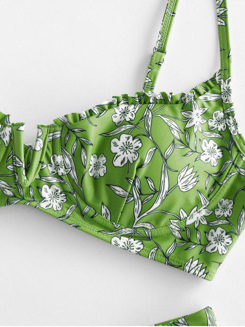 ZAFUL floral V-fio Alface Alta Corte Biquini - Verde de Cebola  S Mobile